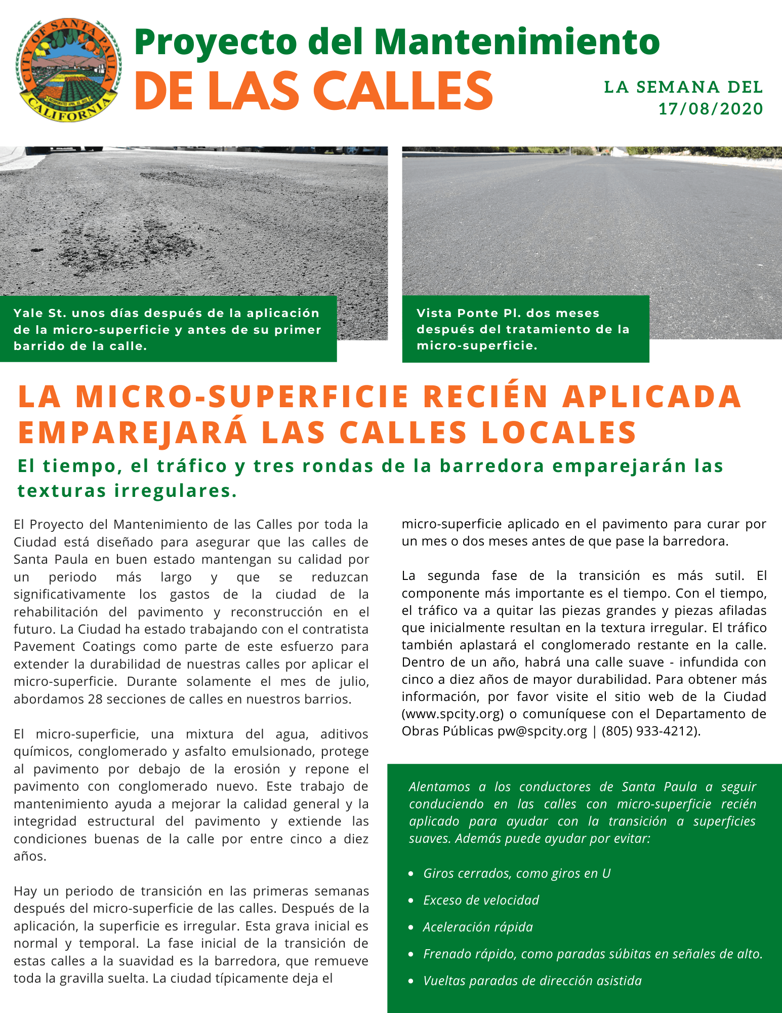 Street Maintenance Project Update Bulletin (Español)