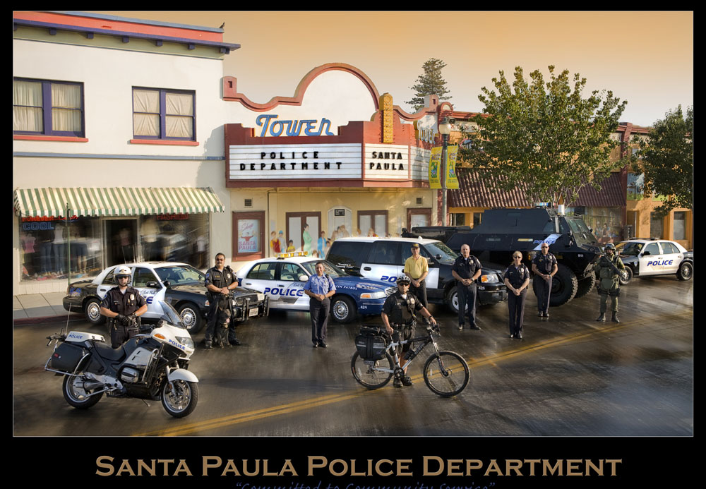 Uniformed Santa Paula Police Department officers and their vehicles.