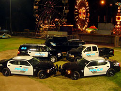 Parked police vehicles at night with reflective text shining.